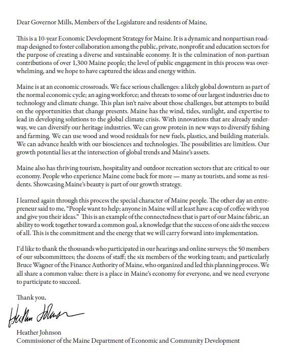 Letter from Heather Johnson re Maine Economoic Plan