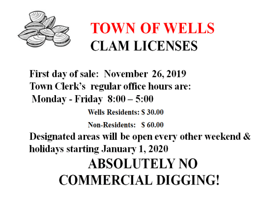 Clam Licenses Go On Sale 11-26-19